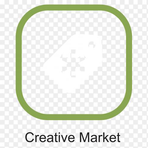 Creative market logo design on transparent background PNG