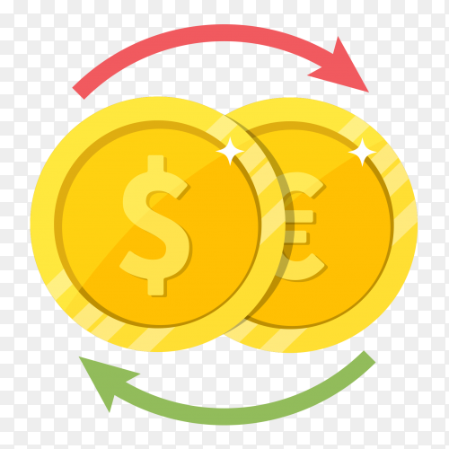 Currency exchange dollar euro illustration on transparent background PNG