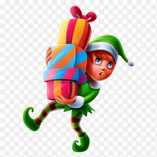 Cute boy with christmas clothes carrying christmas gifts on transparent background PNG