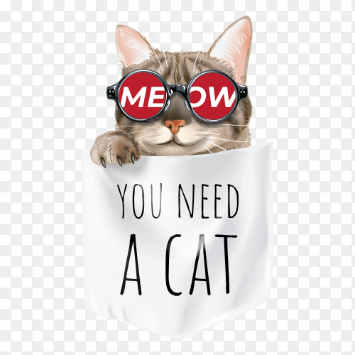 Cute cat in sunglasses in shirt pocket cartoon illustration premium vector PNG