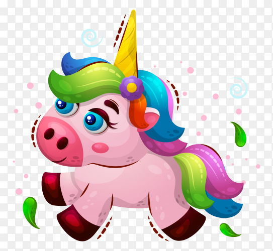 Cute illustration magic animal unicorn on transparent background PNG
