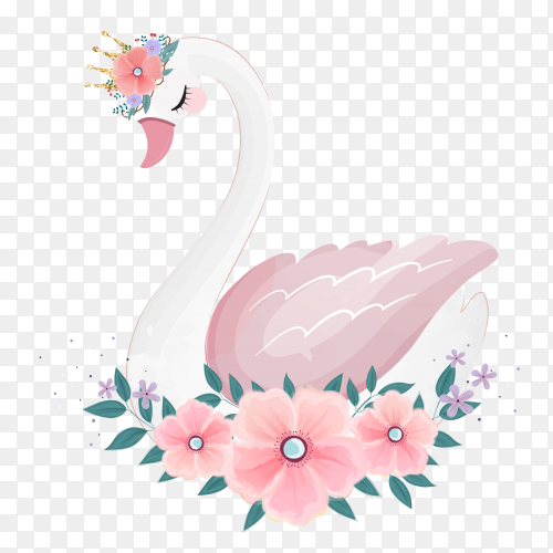 Cute little princess swan with flower bouquet on transparent background PNG