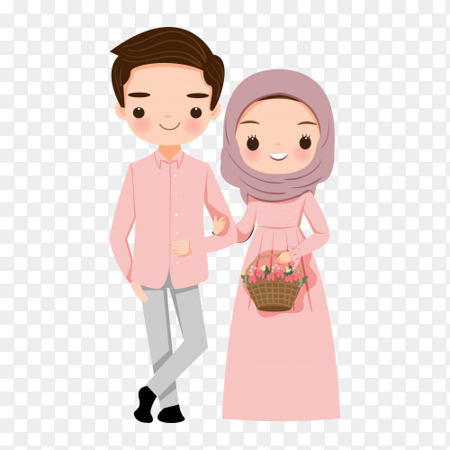 Cute muslim couple with flower on transparent background PNG