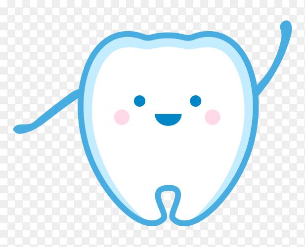 Cute smiling newborn tooth on transparent background PNG