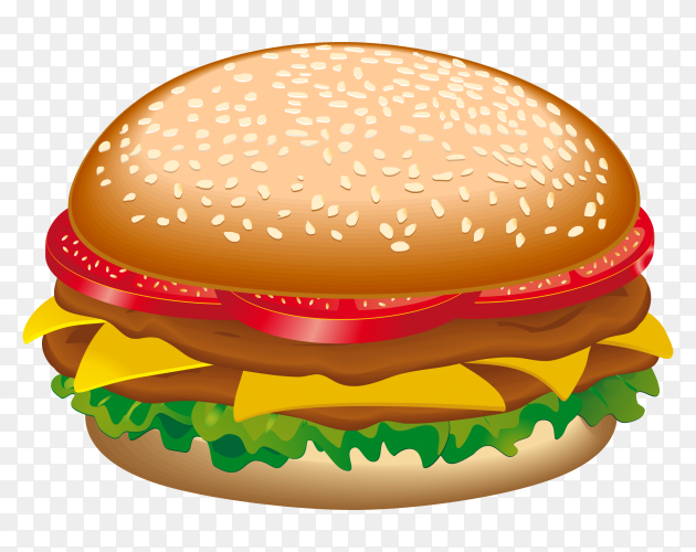 Delicious burger isolated on transparent background PNG