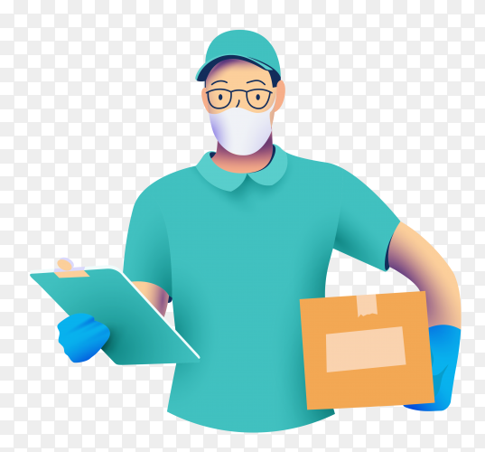 Delivery man in protective medical face mask with a box in his hands on transparent background PNG