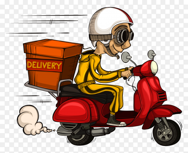 Deliveryman driving fast his scooter on transparent background PNG