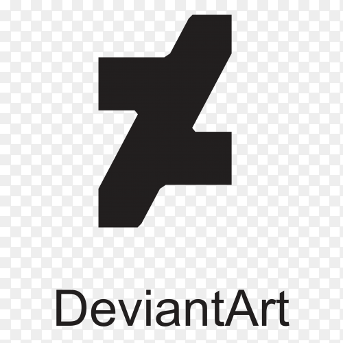 Deviantart icon design in black color on transparent background PNG