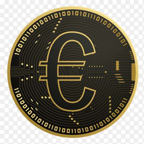 Digital euro coin premium vector PNG