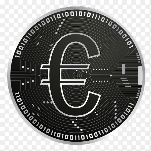 Digital euro with black gold coin on transparent background PNG