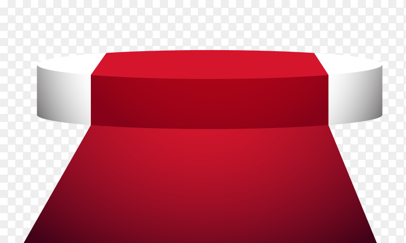 Display podium with red carpet on transparent background PNG