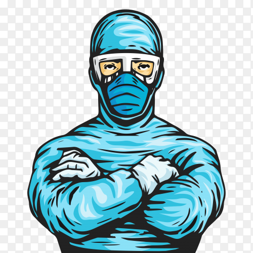 Doctor wearing protective medical suilt premium vector PNG