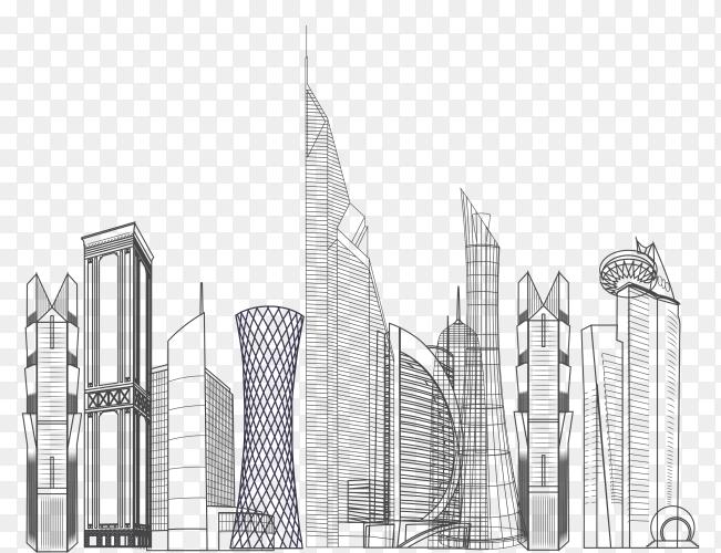 Doha city skyline design on transparent background PNG