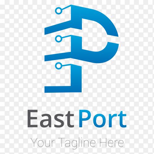 East port logo template Design on transparent background PNG