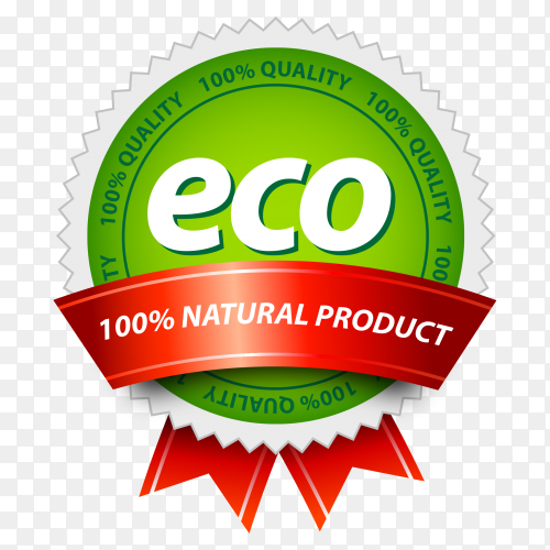 Eco banner design with red ribbon on transparent background PNG