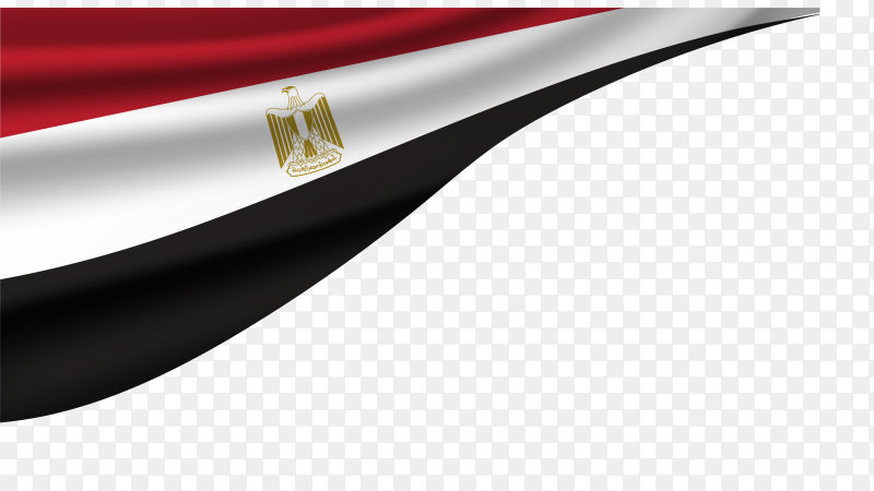 Egypt national flag on transparent PNG