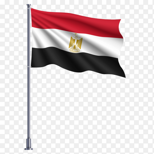 Egypt waving flag illustration on transparent background PNG
