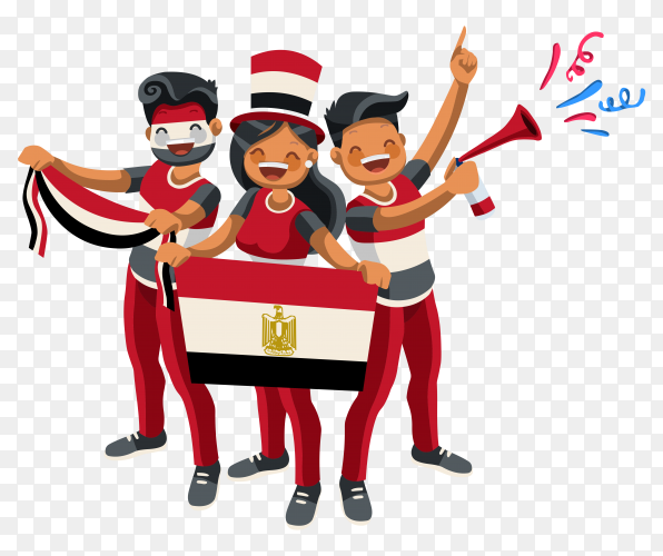Egyptian fans in the Russian Cup on transparent background PNG