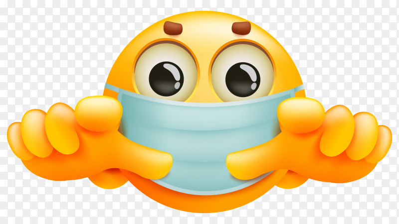 Emoji cartoon character in medical mask on transparent background PNG