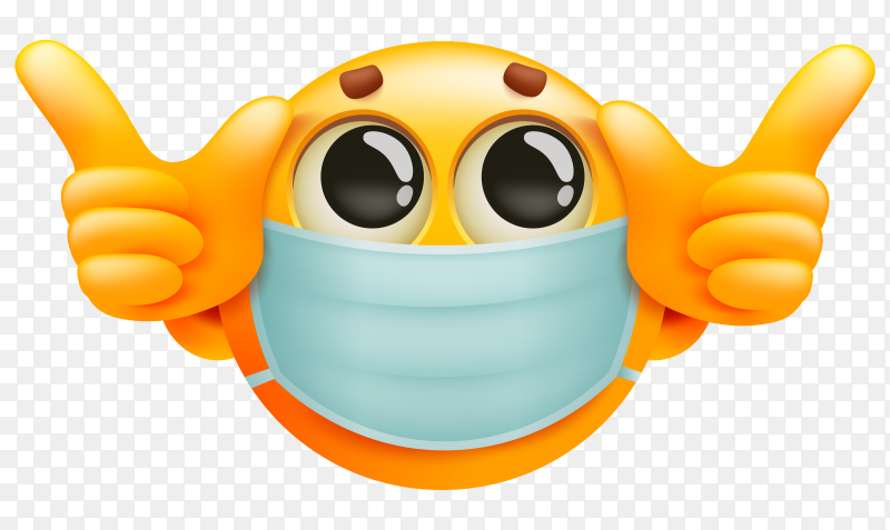 Emoticon yellow cartoon character in medical mask premium vector PNG