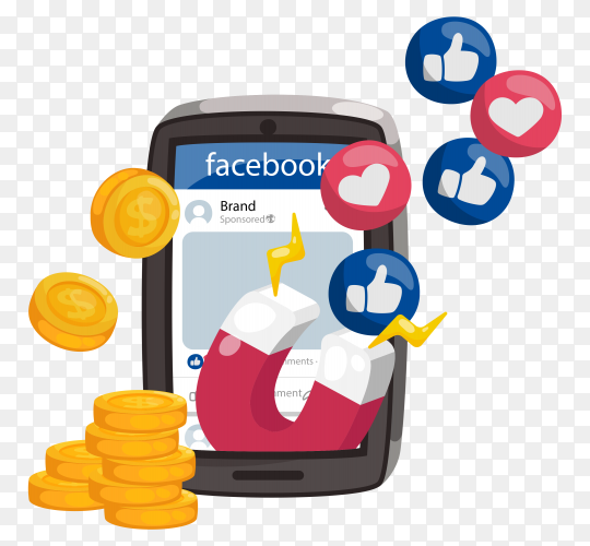 Facebook ads concept with magnet emoticons on transparent background PNG