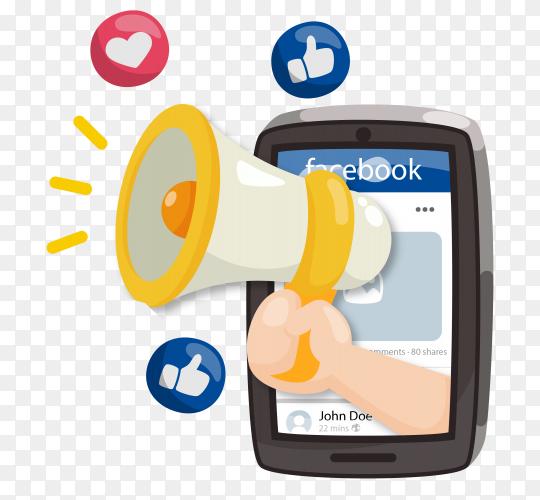 Facebook marketing concept with megaphone on transparent background PNG