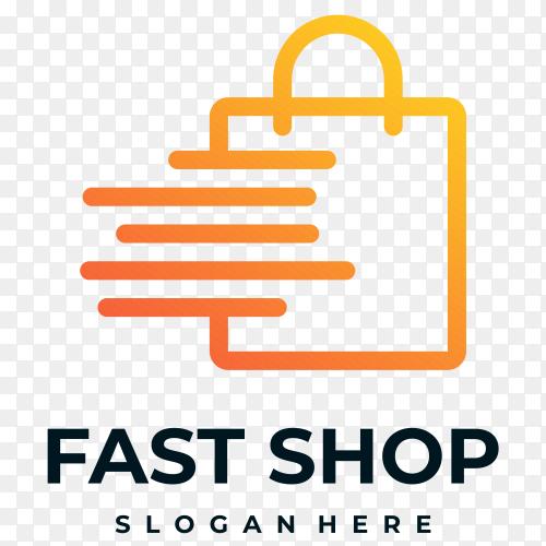 Fast shop logo design on transparent background PNG