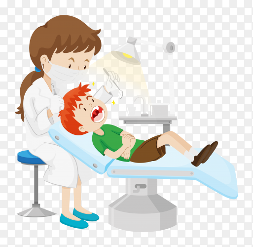 Female dentist curing boy in chair on transparent background PNG