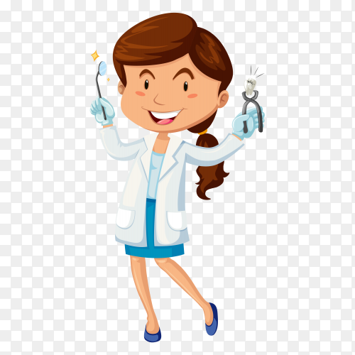 Female dentist with equipment on transparent background PNG