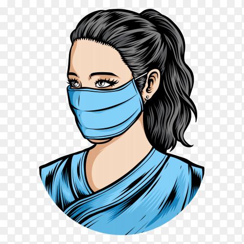 Female nurse wearing medical mask on transparent background PNG