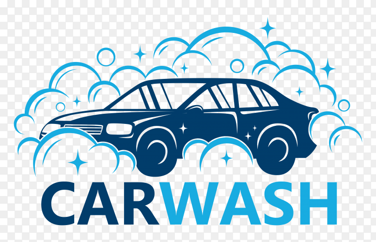 Flat blue car wash logo on transparent PNG
