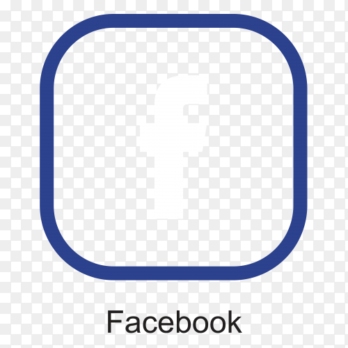 Flat design facebook icon on transparent background PNG