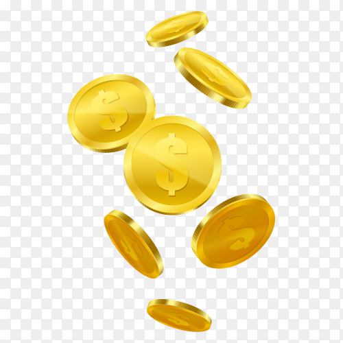 Flaying golden coins clipart PNG
