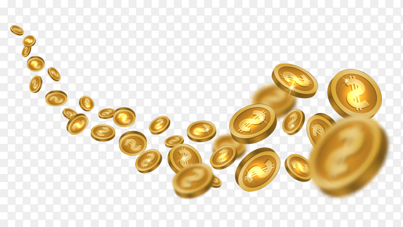 Flying golden coins on transparent background PNG