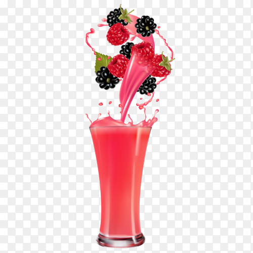 Fresh berries juice  premium vector PNG