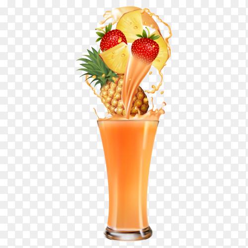 Fresh fruit Cocktail juice on transparent background PNG