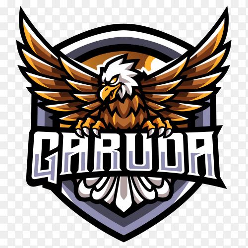 GARUDA esport with eagle logo design on transparent background PNG