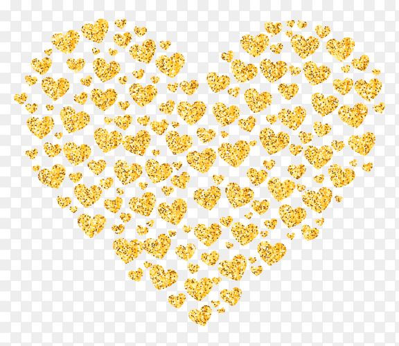 Glitter golden heart on transparent background PNG