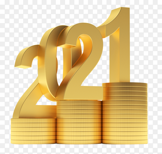 Gold 2021 number on stacks of coins on transparent background PNG