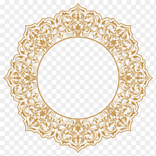 Gold Floral frame on transparent background PNG