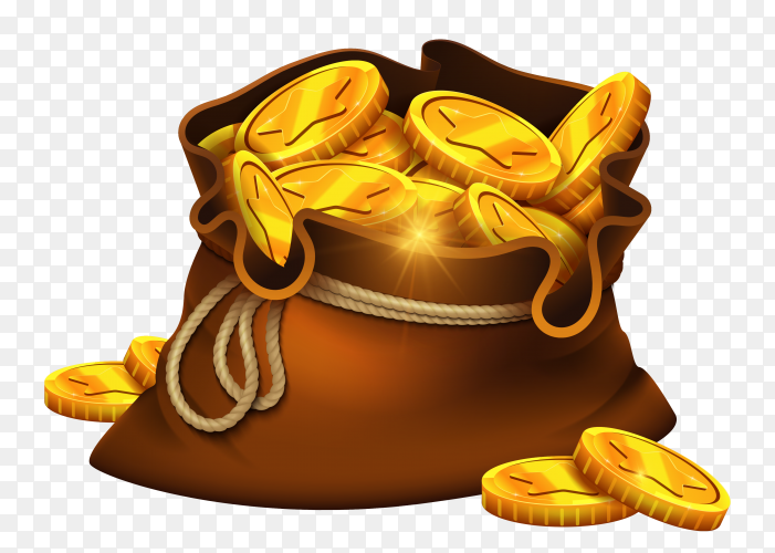 Gold coins bag on transparent background PNG
