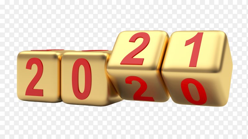Gold dice rotate and change numbers to 2021 on transparent background PNG