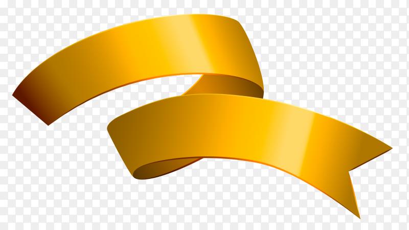 Golden Ribbon design on transparent background PNG
