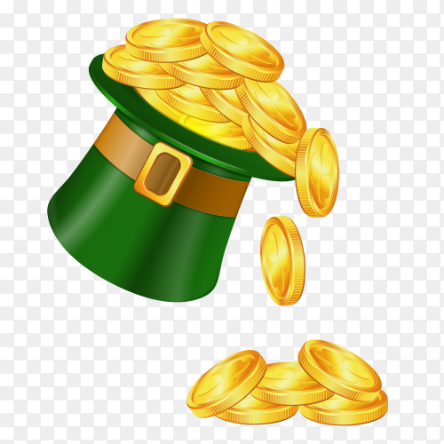 Golden coins in Saint patricks hat Illustration on transparent background PNG