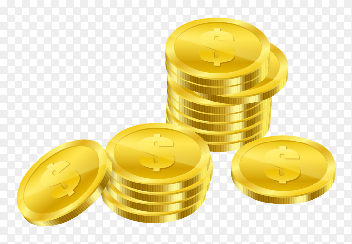 Golden coins isolated on transparent background PNG