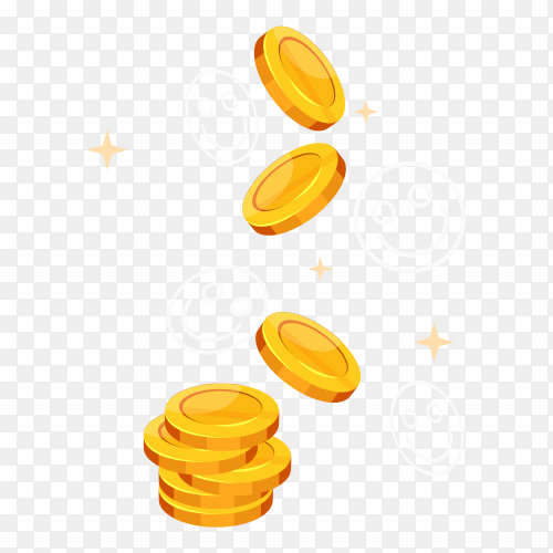 Golden coins with Smile emoji on transparent background PNG