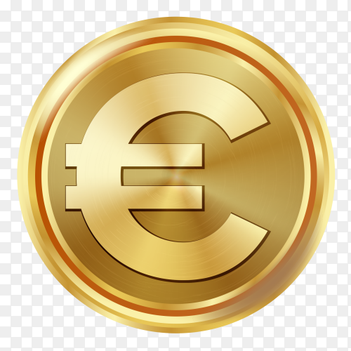 Golden euro coin on transparent background PNG