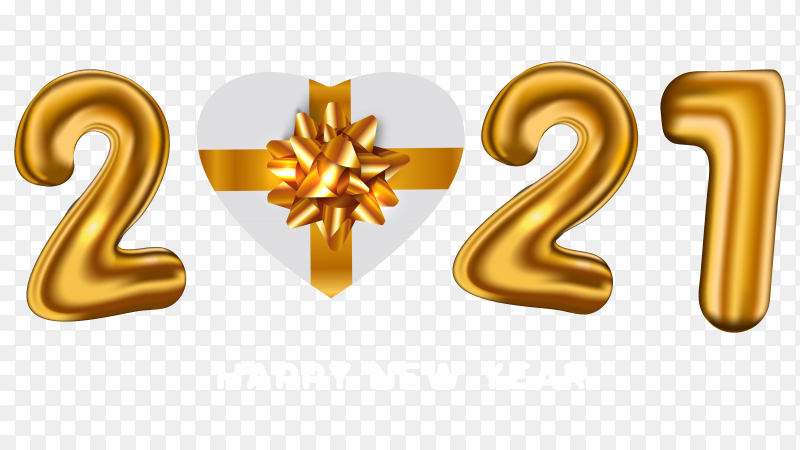 Golden happy new year card with realistic 2021 balloons gift on transparent background PNG