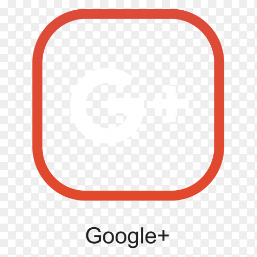 Google plus icon template on transparent background PNG