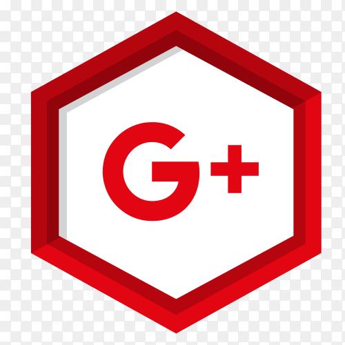 Google plus icon with flat design premium vector PNG
